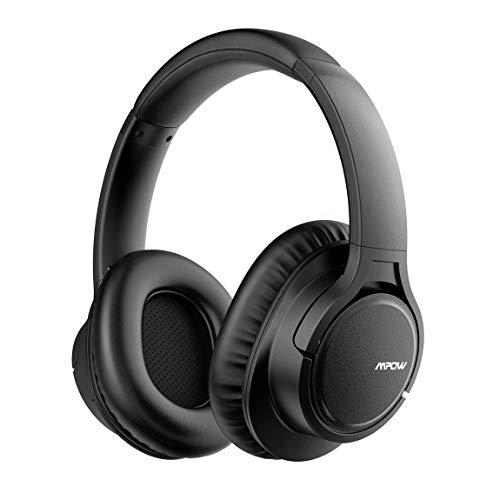 Mpow H7 Bluetooth Kopfhörer Over Ear, Kabellose Kopfhörer mit 18 Stunden Spielzeit, CSR-Chip, CVC 6.0 Noise Canceling Mikrofon Freisprechen, Memory-Protein Ohrpolster für Handy/Tablets, Schwarz