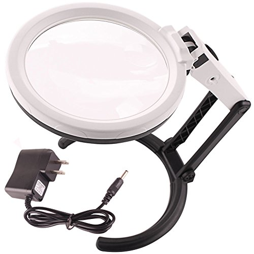 Magnifying Glass with Light,Dual Resin Lens 2X 5X,Adjustable Handheld Magnifier,Standing Desk Lamp for Reading,Inspection,Repair (white)