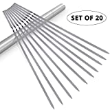 Kabob Skewers(Set of 20), 14'' Shish Kebab Skewers 304 Stainless Steel BBQ Barbecue Skewers Flat Metal Grilling Skewers, Reusable BBQ Sticks with Portable Storage Tube