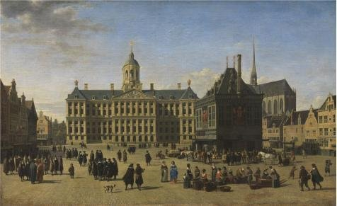 Oil Painting 'The Dam Square In Amsterdam By Gerrit Adriaensz Berckheyde,1668' 30 x 49 inch / 76 x 125 cm , on High Definition HD canvas prints is for Gifts And Bar, Game Room And Kids Room - Log Seven Drawer Dresser