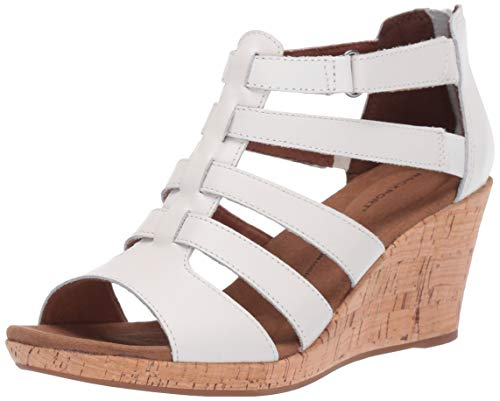 Rockport Women's Briah Gladiator Sandal, White Leathe, 9 M - Leather Wedge Shoes