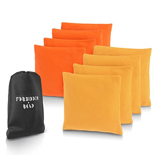 Forbidden Road Cornhole Bag Bean Bags Pack of 8 for Tossing Core Hole Games with Duck Canvas Material Cover and PP Plastic Pellets Inside - Free Carrying Bag Included (Orange & Yellow, 14OZ)