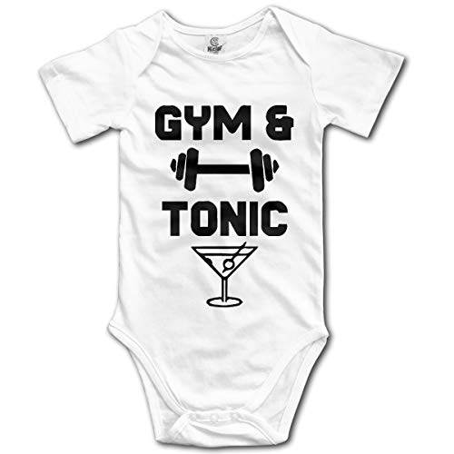 - Oh63Ji& Unisex Baby Gym and Tonic Short Sleeve Romper Jumpsuit, Printed Cotton Bodysuit Outfits Clothes White