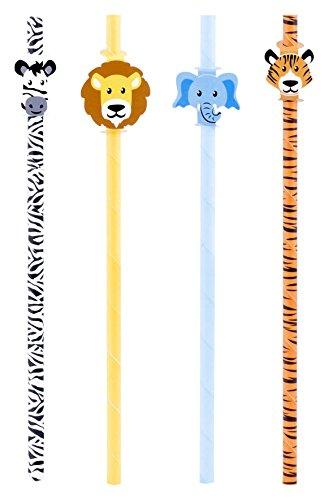 Kikkerland CU217 Safari Paper Straws, Pack of 12, Multicolor