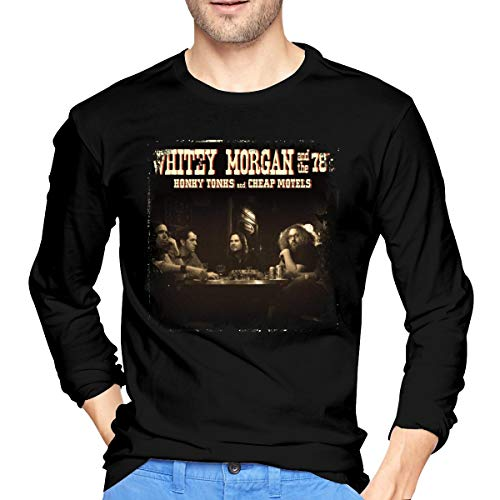 JONES DIY Whitey Morgan#Honky Tonks Motels Long Sleeve Tee for Men Black (Whitey Morgan Honky Tonks And Cheap Motels)
