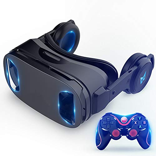YYR VR Headset Compatible with iPhone&Android, Universal Virtual Reality Goggles w/Remote Controller, Earphone, PUBG Eat…