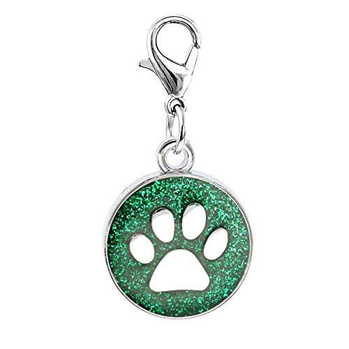 Pasona- Charms - 10pcs Enamel Footprint Cat Dog/Bear Paw Prints 18mm Dog paw Charms Rotating Lobster Clasp Key Chain Keyring Bag Jewelry Making - by Pasona - 1 PCs