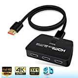 4K@60Hz HDMI Switch, AOKEN 3 in 1 Out HDMI Switch,3-Port HDMI Switcher,Splitter,Supports 4K,3D,HDCP2.2,HDMI2.0,HDR,for Apple TV 4K, Fire Stick, HDTV, PS4, Game Consoles, PC and More.
