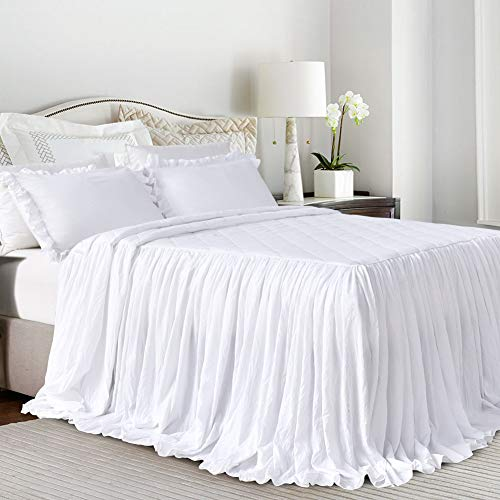 (Queen's House Ruffle Skirt Bedspread White Shabby Farmhouse Style Lightweight 3 Piece Set King)