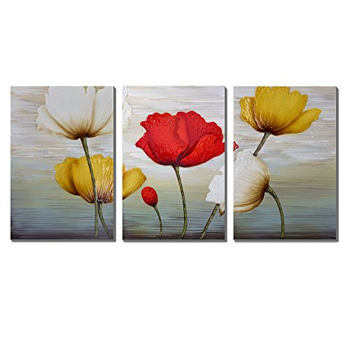 3Hdeko-Floral Oil Paintings on Canvas 3 Panels Artwork Extra Large Red White and Yellow Blooming Tulip cubism Wood Inside Framed Hanging Wall Art Decoration