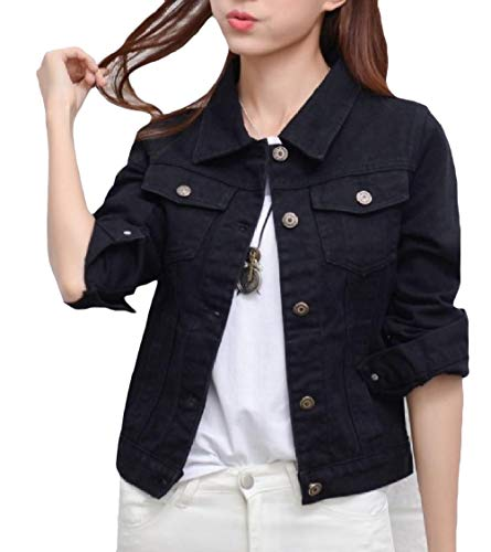 Slim Pockets Denim Outwear EnergyWomen Button Long Sleeve Lapel Black Jacket qEpxvE