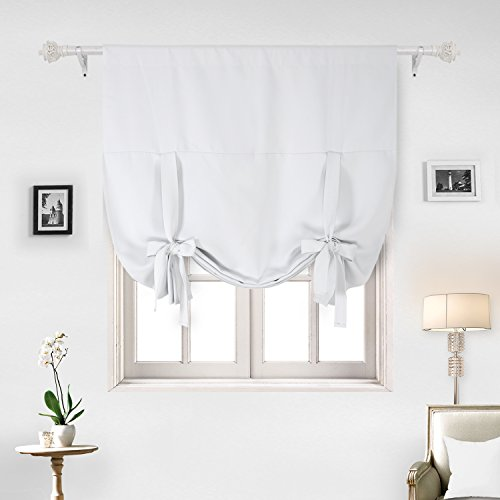 Tie Up Shade (Deconovo Blackout Curtain Tie Up Shade Window Panels for Living Room and Bedroom Greyish White 46W x 63 One Panel)