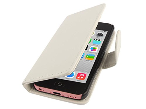 Apple iPhone Case 5c Wallet, Fone-STUFF® - PU cuir, Flip Horizontal, Porte-cartes Housse de protection en blanc (Comprend protecteur d'écran)