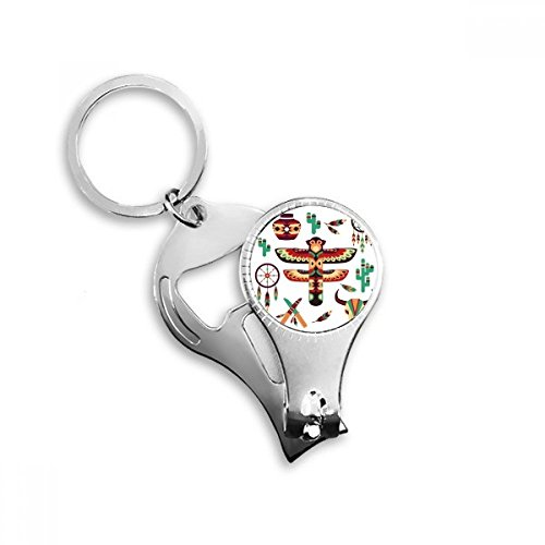 Native American Dream Catcher Pottery Indian Totem Sacrifice Metal Key Chain Ring Multi-function Nail Clippers Bottle Opener Car Keychain Best Charm Gift