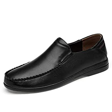 2019 Mens New Lace-up Flats Men's Casual Comfortable Lightweight Soft Slip Formal Shoes Fashion Oxford (Color : Black, Size : 5 UK)