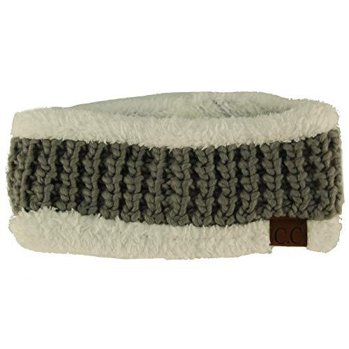 CC BEANIE Winter Sherpa Polar Fleece Lined Thick Knit Headband Headwrap Hat Cap Natural Gray