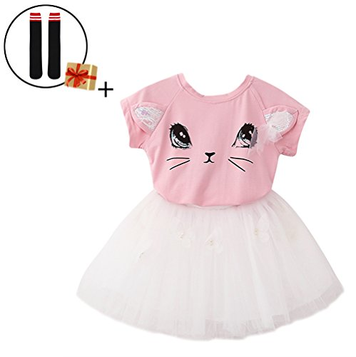 Aibearty Little Girl Cute 2PCS Clothing Set Birthday Party Outfit Tops T-Shirt + Butterfly Tutu Skirt
