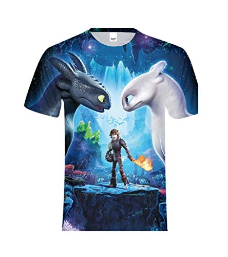 Family Matching T-Shirt Outfit How to Train Your Dragon Toothless Cotton Tops Tees Daddy Mommy and Baby Clothes (Dad, L) ()