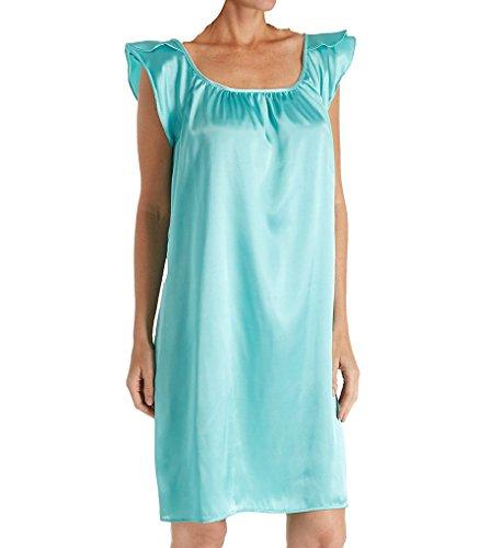 Amanda Rich Satin Knee Length Gown with Flutter Sleeve (209C-40) S/Aqua Amanda Knee Length Nightgown