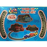 Train Track Wind up Set Junior Train Set with Carriages for Kids Toy 3+ Children