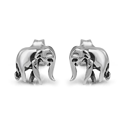 925 Sterling Silver 8 mm Tiny Elephant 3-D Post Stud Earrings