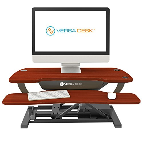 VersaDesk 40″ Power Pro by VersaTables – Push Button Motorized Height Adjustable Standing Desk. Electric Desk Riser with Keyboard Tray. Cherry Woodgrain