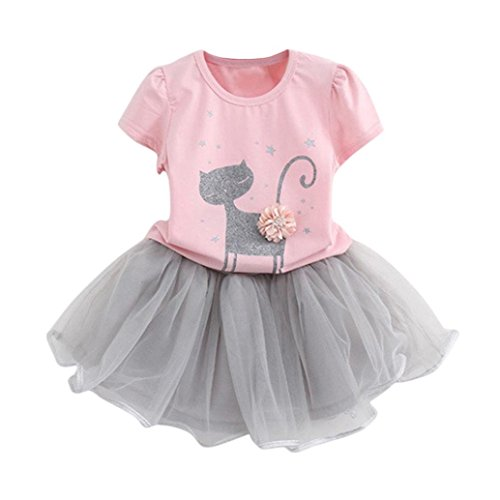 Price comparison product image G-real Top+Skirt, Toddler Baby Girls Kids Cartoon Kitty Print Floral T-Shirt Tops+Tutu Skirt for 2-6T (Pink, 3T)