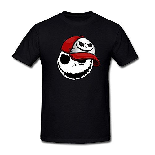 Drong Men's Cool Jack in Hat Image the Nightmare Before Christmas T-Shirt XL Black