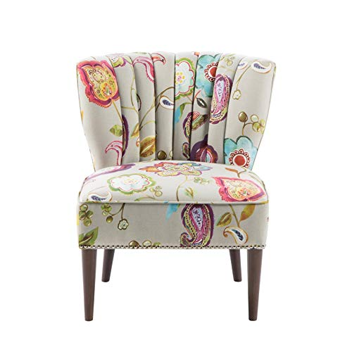 (Madison Park Korey Accent Chairs - Hardwood, Birch Wood, Fabric Living Room Chairs - Khaki, Purple, Blue, Floral Paisley Style Living Room Sofa Furniture - 1 Piece Wingback Deep Seat Armless Bedroom Chairs Seats)