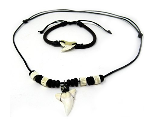 Real Shark Tooth Necklace Surfer Hawaiian Beach Boys Girls Men - Color White Bone Shark Surfer Necklace Unisex Shark Jewelry Necklace (Set Black and White Shark) ()