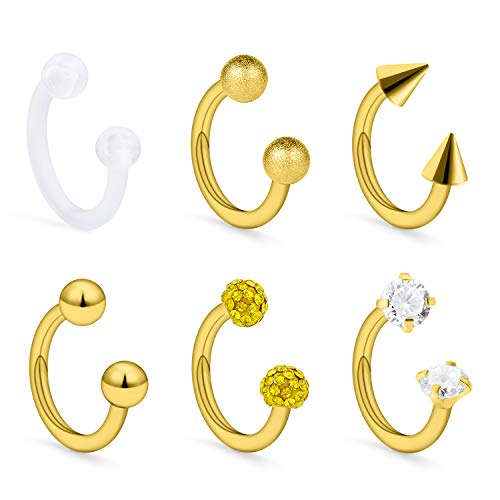 Dyknasz 16G Surgical Steel Septum Rings Retainers Helix Tragus Lip Hoop Ring Horseshoe Barbell Earring with Clear Diamond CZ Body Piercing Jewelry 8mm for Women Men Goldtone