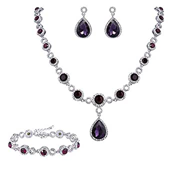 Clearine Women's Fashion Wedding Bride Crystal Infinity Figure 8 Y-Necklace Bracelet Dangle Earrings Set Amethyst Color Silver-Tone
