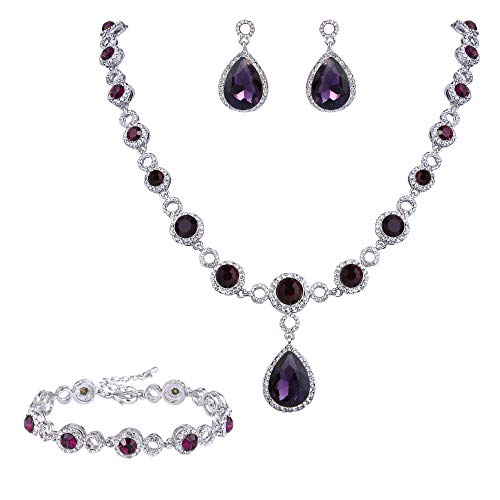 BriLove Wedding Bridal Necklace Bracelet Earrings Jewelry Set for Women Crystal Infinity Figure 8 Teardrop Y-Necklace Dangle Earrings Tennis Bracelet Set Amethyst Color Silver-Tone February Birthstone