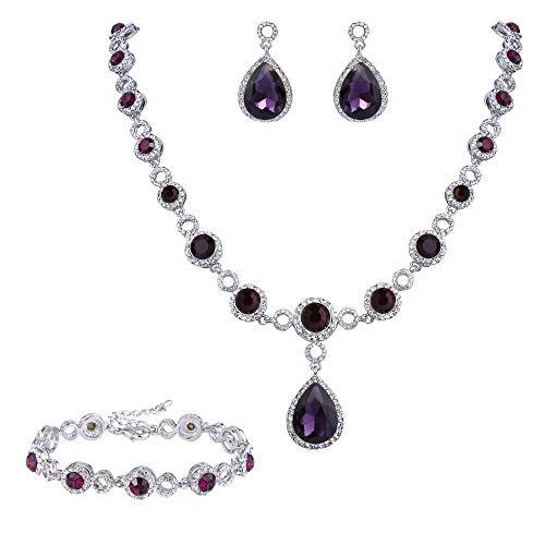 (BriLove Wedding Bridal Necklace Bracelet Earrings Jewelry Set for Women Crystal Infinity Figure 8 Teardrop Y-Necklace Dangle Earrings Tennis Bracelet Set Amethyst Color Silver-Tone February)