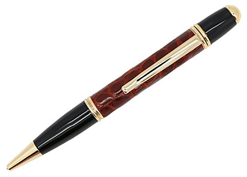 Cognac Genuine Alligator Executive Ballpoint Pen – Gold Trim – Replaceable Ink - Gifts for Men or Women – Velvet Sleeve & Box – Hand-wrapped in the USA by Real Leather Creations (Leather Wrapped Barrel)
