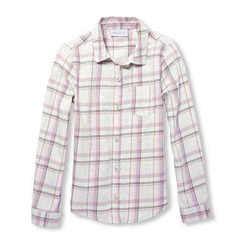 Rock Plaid Shirt - The Children's Place Big Girls' Long Sleeve Plaid Woven, Lunar Rock, XXL(16)