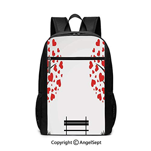 (3D Print School Backpack,Trees with Hearth Shaped Leaves and a Bench Love Romance Nature Design,Black Red White,6.5