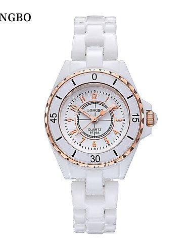 sbsghdx Longbo para mujer relojes mujer marca de moda banda de cerámica reloj de cuarzo diamante, 1 #: Amazon.es: Relojes