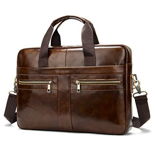 Leather Business Messenger Bag Briefcase Handbag for Men Carry All Laptop Protection for 14 Inch Computer Crossbody Shoulder Tote Handle Handbags (14 Briefcase For Handbags In Men)