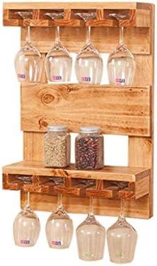Estantería de vino Soporte de pared for estante de vino for montaje en pared hecho de madera de pino maciza Copa de vino Estante de vino colgado en estante de vino Estantes flotantes for gabinetes de