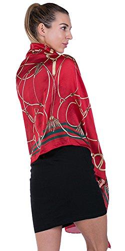 100% Silk Scarf for Women Sunscreen Printed Shawl Wrap Headscarf Long Large Lightweight Satin Red ()