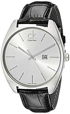 Calvin Klein Men's K2F21120 Exchange Stainless Steel Watch with Black Leather Band