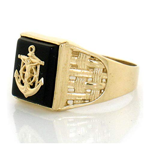 (14k Solid Yellow Gold Onyx Cross Anchor Mens Ring (Style# 1882) - Size 7 )