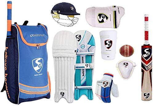 SG Comfipak Complete Cricket Kit with Spofly Ball  Full Size Ideal for Age Above 14 Year Senior