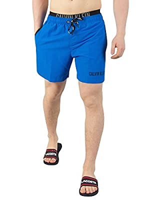 Calvin Klein Men's Double Waistband Swim Shorts, Blue