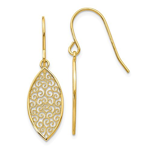 Mia Diamonds 14k Solid Yellow Gold Fancy Filigree Teardrop Dangle Earrings (27mm x 8mm)