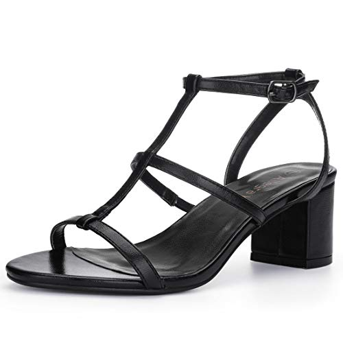 Allegra K Women's T-Bar Block Heel Black Sandals - 8.5 M US