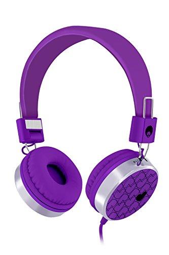 RockPapa 878 On Ear Love Hearts Headphones Foldable, Adjustable Headband for Teens/Adults, iPod iPhone iPad Mini iPad Air, Surface Laptop DVD MP3/4 Purple