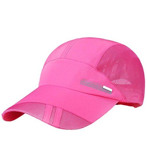 Baseball Cap, Botrong Adult Mesh Hat Quick-Dry Collapsible Sun Hat Outdoor Sunscreen Baseball Cap (Hot Pink)