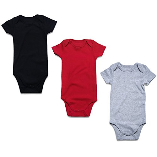 OPAWO 3-Pack Baby Short Sleeve Bodysuits Cotton Lap Shoulder Romper for Unisex Boys Girls (0-3 Months, Black/Red/Gray Short sleeve)